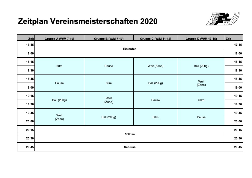 Zeitplan Vereinsmeisterschaften 2020